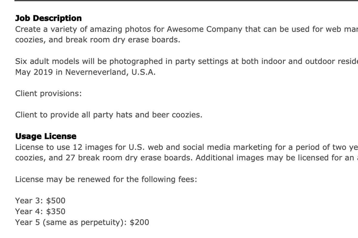 commercial photography usage license